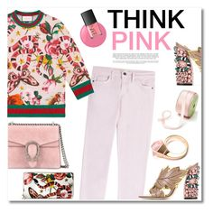 """""""Think Pink"""" by watereverysunday ❤ liked on Polyvore featuring Gucci, Current/Elliott, Essie, NARS Cosmetics, Pink, WhatToWear, gucci and pinkjeans"""