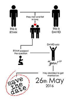 20 x Personalised Gay Same Sex Save The Date Cards - Modern / Funny - Civil
