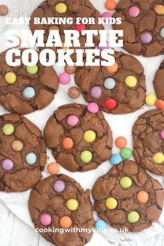 These chocolate Smartie cookies are a fun and colourful twist on a simple double chocolate chip cookie. Any little chef will enjoy making them! Double Chocolate Chip Cookies, Chocolate Mix, Melting Chocolate, Easy Chocolate Chip Cookies Recipe For Kids, Chocolate Lovers, Yummy Cookies, Smartie Cookies, Smarties Recipes, Baking