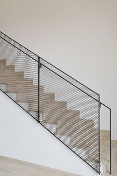 hexagonal perforated steel balustrade made by luginbuehl Staircase Railing Design, Balustrade Design, Steel Balustrade, Rustic Staircase, Staircase Handrail, Steel Handrail, White Staircase, Balustrades, Interior Staircase