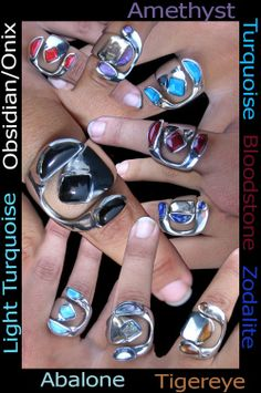 Beautiful adjustable rings with many different stones. Definitely statement pieces!