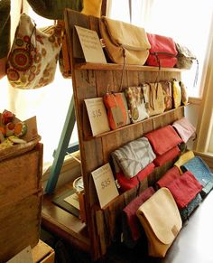 Wooden display for pouches :: red tree designs