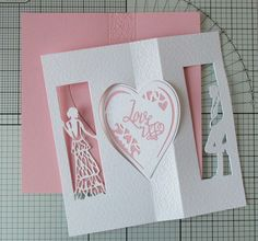 This is a step by step photo tutorial showing just one way of using the new Tonic Studios Flip Flop Die Sets. There are 4 differe. Pink Cards, Love Cards, Art Deco Cards, Tonic Cards, Swing Card, Card Making Tutorials, Die Cut Cards, Heart Cards, Photo Tutorial