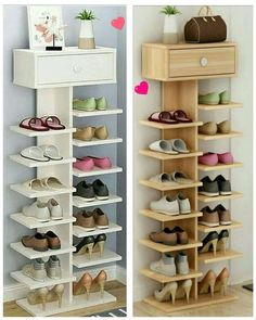 Smart DIY Entryway Shoe Storage Ideas & Hacks For diy furniture small spaces, Shoe Storage Design, Entryway Shoe Storage, Diy Shoe Rack, Shoe Storage Cabinet, Rack Design, Storage Cabinets, Wardrobe Storage, Wood Shoe Rack, Regal Design