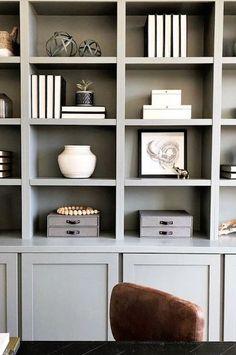 Built-in bookcase styling Bookshelf Styling, Bookshelf Design, Built In Bookcase, Bookcases, Painted Bookshelves, Office Bookshelves, White Bookshelves, Grey Shelves, Corner Shelves