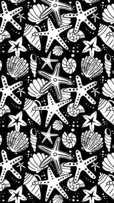 Seashells and Starfish - Black ...