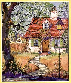 """It's strange how a scene like this evokes memories of home, even if our childhood home did not resemble this house in the least. Maybe because it's a cozy safe place. """"Home sweet home,"""" painter not listed. Note by Roger Carrier"""
