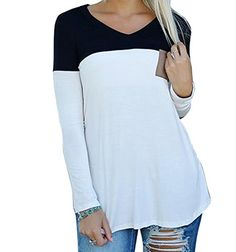 fd31cfa81ab CANIS Womens Front Pocket Decor Long Sleeve Elbow Patch Color Block Top ***  To view further for this item, visit the image link.