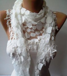 White Lace Scarf - Polka Dot with White Trim Edge --- Summer Collection $17.90