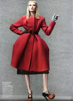 Vogue October 2012, Calvin Klein coat and Prada shoes. Photograph by Craig McDean.
