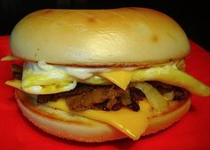 | McDonald's Breakfast Steak Egg and Cheese Bagel Sandwiches Copycat Recipe