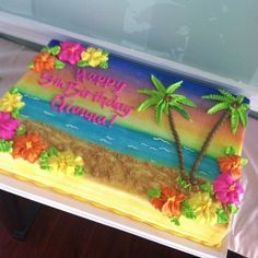 No photo description available. Hawaii Birthday Cake, Hawaiian Theme Cakes, Hawaii Cake, Birthday Sheet Cakes, Hawaiian Luau Party, Hawaiian Birthday, Themed Birthday Cakes, Themed Cakes, 9th Birthday