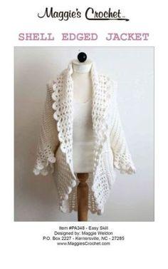 free crochet jacket patterns | Crochet Pattern Crochet Shell Edged Jacket PA348 by Maggie Weldon ...