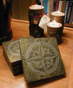 NAUTICAL COASTERS SET - Carved Natural Slate Stone - Mariner Star Compass Rose Drink Coasters