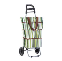 """Shopping Tote With the Shopping Tote & Trolley you can now """"shop 'til you drop"""" means until you're tired, not when your shopping bags are too cumbersome to carry! This handy shopping tote and trolley features an insulated, multi-compartment striped shopping bag that easily and securely slides onto a metal framework. The trolley has a comfortable plastic-covered handle and tough wheels, plus a front brace that makes stopping easy."""