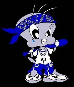 Share graphics with friends: cartoon crip gangster