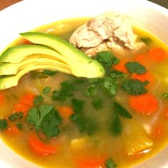AVOCADO AND CILANTRO IN YOUR CHICKEN SOUP Yum!    #WholeBodyReboot #ChikenSoup #superfoods #glutenfree #WeightLoss #fitness #foodie #easyrecipe #diet #dietitian #ManuelVillacorta #avocados