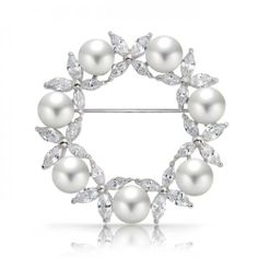 Silver Tone White Shell Pearl Marquise CZ Flower Wreath Brooch Pin