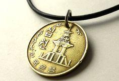 Korean coin necklace Korean necklace Vintage by CoinStories