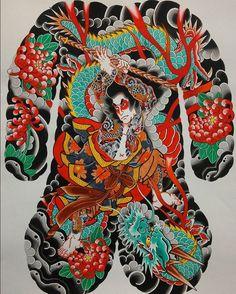 New painting, Kumonryu Shishin Japanese Tattoo Symbols, Japanese Tattoo Designs, Japanese Tattoo Art, Face Painting Tutorials, Face Painting Designs, Back Piece Tattoo, Back Tattoo, Samurai, Full Body Tattoo