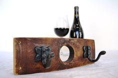 "PERCHA - ""Mini Niknak"" Wine Barrel Coat / Key / Towel Rack made from Napa Valley Barrels and 100% recycled metal by winecountrycraftsman on Etsy https://www.etsy.com/listing/153099299/percha-mini-niknak-wine-barrel-coat-key"