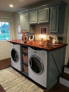 40 Modern Basement Remodel Laundry Room Ideas Traditionally, washers and dryers were located in the basement. This is a little like storing garden tools in the attic. Laundry Room Remodel, Laundry Room Cabinets, Laundry Room Organization, Laundry Room Design, Diy Cabinets, Laundry Closet, Laundry Shelves, Laundry Decor, Kitchen Remodel