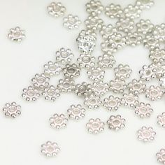 4mm Silver Bead Spacers, Small Flower Bead Spacers, Tibetan Bead Spacers, Flower…
