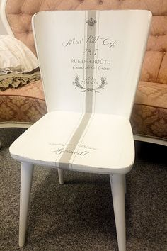 Beautiful stencil on wooden chair. Perfect DIY