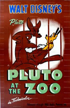 Pluto at the Zoo Walt Disney 1942 Movie Poster Download by nukes