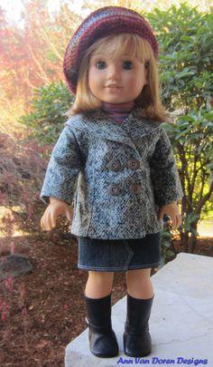 Flannel Jacket, Denim Skirt and Knit Hat for AG by AnnVanDorenDesigns via Etsy  $35.00