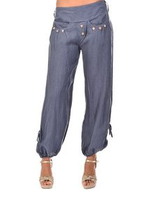 Loving this Faded Blue Linen Harem Pants on #zulily! #zulilyfinds