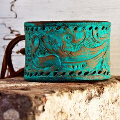 Leather cuff bracelet in turquoise