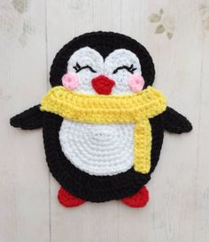 PURCHASED CROCHET pattern - Penguin Applique ~ size depends on hook and yarn used ~ adorable little chubby Crochet Animal Patterns, Applique Patterns, Stuffed Animal Patterns, Crochet Animals, Knitting Patterns, Crochet Penguin, Motifs D'appliques, Crochet Motifs, Crochet Hooks
