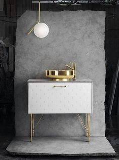 I'm totally smitten with the designs by Superfront. The brand Superfront designs and makes fronts, handles, legs, and tops for the common Ikea cabinets. Ikea Furniture, Bathroom Furniture, Bathroom Interior, Furniture Design, Brass Bathroom, Vanity Bathroom, Gold Faucet, Bathroom Modern, Washroom