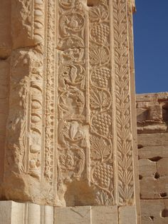 The ruins of Palmyra, Syria - entablature section with egg and dart, acanthus foliate, grape vine and olive tree carved decoration