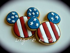 Mickey USA flag cookie | by lizybbakes | cut out cookie, royal icing, decorated, red, white and blue, stars and stripes