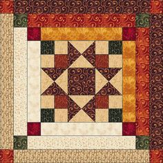 Log Cabin Quilt Pattern Ohio Star in Log Cabin por QuiltPatterns