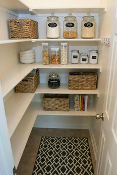 17 Awesome Pantry Shelving Ideas to Make Your Pantry More Organized Pantries are useful, but can quickly become messy and unorganized. Explore simple pantry shelving ideas ikea to spice up your kitchen storage and get things in order. Small Pantry Organization, Organization Ideas, Storage Ideas, Organized Pantry, Tiny Pantry, Small Pantry Closet, Pantry Diy, Walk In Pantry, Custom Pantry