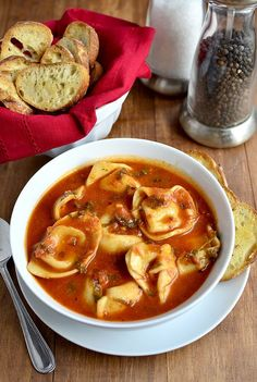 Tomato Basil Soup with Cheese Tortellini is ready in just 15 minutes. Perfect for busy nights! | Iowagirleats.com