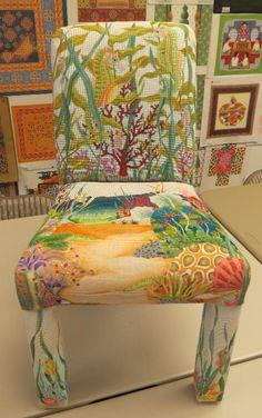 Dede Trunk Show, needlepoint chair with underwater scene