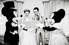 Mickey and Minnie Mouse joined this couple at their Disney wedding #Disney #wedding #Mickey #Minnie