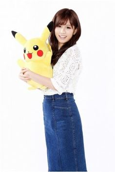 """Acchan!!! Former AKB48 star Atsuko Maeda seen here with her Pikachu.  Never nicknamed a Pikachu """"Atsuko"""" but it might be good for female form now!!!"""