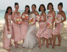 Destination beach wedding with light coral/ salmon bridesmaid dresses