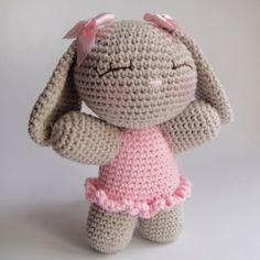 Amigurumi Bunny with dress #amigurumi #crochetdoll