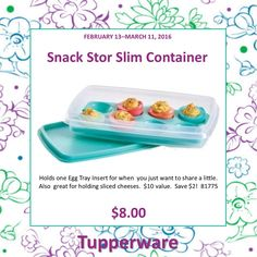 Tupperware Snack Stor - Slim Container great for deviled eggs, cold meats, and much more