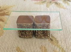 """Pat Tyler Artist Made Handcrafted OOAK Table. Set of 2 Genuine Leather topped resin stands make the base for the Coffee Table with acrylic top. Top Measures approximately 3 1/2"""" Wide, 1 1/2"""" High, 2"""""""