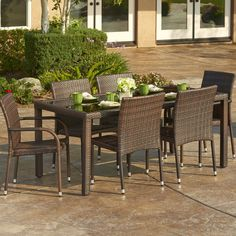 round 9pc outdoor wicker dining set dining sets wicker patio