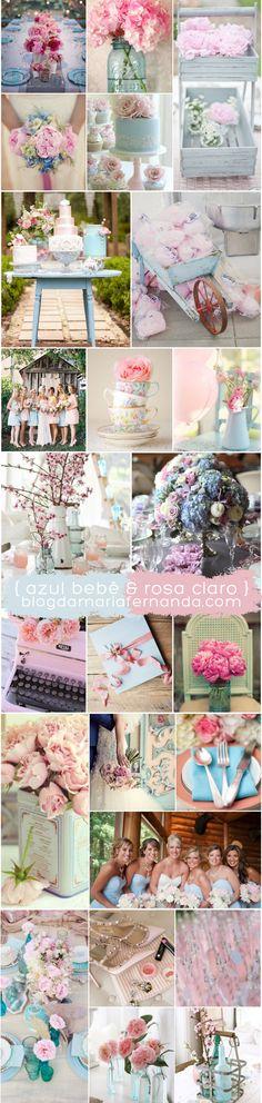 Decoracão de Casamento Paleta de Cores Azul e Rosa | http://blogdamariafernanda.com/decoracao-de-casamento-paleta-de-cores-azul-e-rosa