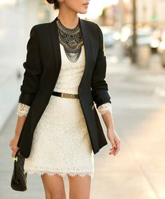 what-do-i-wear:    Blazer :: Zara (old) (similar here & here)Dress :: DVFBag :: ChanelAccessories :: Prada sunglasses, J.Crew belt,necklace thanks to Stella & Dot! (image: wendyslookbook)