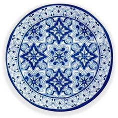 Q Squared Talavera Dinner Plate featuring polyvore, home, kitchen & dining, dinnerware, pottery dinnerware, blue dinnerware, pottery dinner plates and blue dinner plates